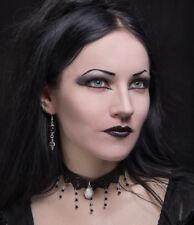 Gothic choker steampunk necklace Jet and Opal stripey striped goth tim burton
