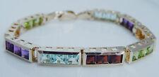 Vintage 14K Yellow Gold Aquamarine Peridot Citrine Amethyst Garnet Bracelet