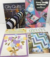 Lot of 4 Quilt Books, Quilting Patterns Instruct Crazy, Garden, Modern, Applique