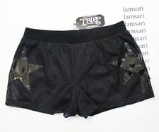 TRIPP NYC Black Mesh Layered Vinyl Star Elastic Waist Shorts Juniors Size L
