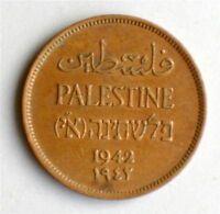 Israel Palestine British Mandate 1 Mil 1942 Coin XF