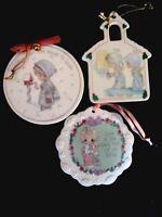 3 vintage porcelain precious moments ornaments Church 1st Noel, Blessings