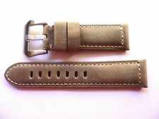 24mm Watch Strap Band with Buckle - 24/22mm Sand Leather Panerai Style