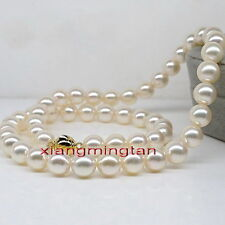 "AAAAA 18""10-11mm Natural south sea perfect round WHITE pearl necklace 14K GOLD"