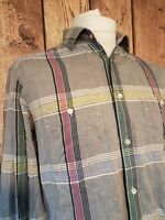 Mens Reiss Shirt Large Long Sleeve Grey Check 44 Chest