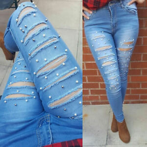 New Womens Celeb Stretch Ripped Faded Skinny Denim Pencil Pants Jeans HOT Pant