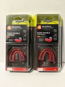 2 packs: Shock Doctor Double Nano Low Profile Red Gel-Fit Mouth Guards NEW Youth