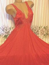 VINTAGE RED OLGA BODYSILK 120 INCH SWEEP GOWN CHIFFON NYLON RETRO COUTURE