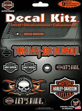 HARLEY DAVIDSON 9 PIECE DECAL KIT WILLIE G SKULL BAR AND SHIELD LET'S RIDE
