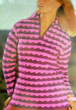 "1675 RETRO 1960s DK CROCHET PATTERN Woman's Jumper Sweater 35-39"" Extracted Copy"