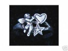 LOOK Sterling Silver .925 Cupid Angel Valentine's Day Love Heart Star Ring Jewel