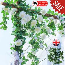 4/8/12X 8Ft Artificial Rose Garland Flower Vine Ivy Wedding Garden String Decor