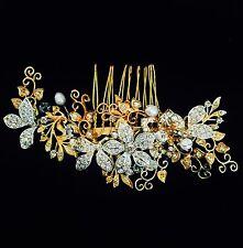 USA HAIR COMB use Swarovski Crystal Wedding Bridal Dancer French Twist Gold Q4