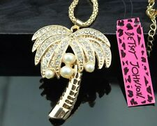 Betsey Johnson Necklace Tropical Palm Tree Gold Pearl Crystals Summer