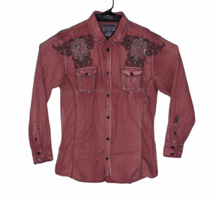 Roar for Buckle Mens Large Red Signature Edition L/S Button Up Shirt Embroidered