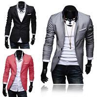 Mens Casual Blazer Jacket Adults Designer Smart Slim Fit One Button Blazer Coat*