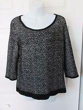 MOTH Black White Jacquard Chenille Pullover Sweater LG 3/4 Sleeves Half Zipper