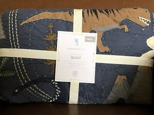 POTTERY BARN KIDS Jurassic Dinosaur TWIN Quilt - NEW - Navy