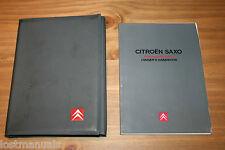 GENUINE CITROEN SAXO OWNERS MANUAL / USER HANDBOOK, WALLET, 1996-2000,