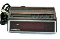 Vintage Spartus 1129 Faux Wood Grain Red LED Display Alarm Clock