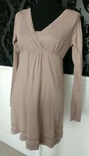 Fat Face Taupe Tunic Dress Empire Line Long Sleeves V Neck Size 10