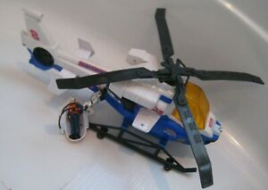 Vtg Tonka Blue SEARCH & RESCUE Helicopter Power Winch Raft Figure Sounds Lights