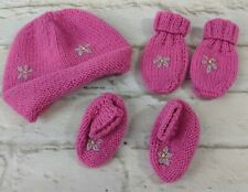 Hand Knit Girl Pink Layette Baby Hat Mittens Booties Slippers 5 Piece Set