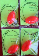 4 BUNKER HELICOPTER RIGS HOOK SIZE 7/0 100# WIRE LINE STRIPERS BLUEFISH KINGFISH