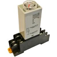 US Stock DC 24V H3Y-2 Delay Timer Time Relay 0-3M Minute & Base Socket