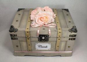 Pink Wedding Card Box Trunk, Shabby Chic Wedding Decor, Neutral with Blush Pink,