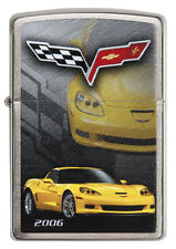 Zippo Chevrolet Corvette 2006 C6 brushed Chrome Custom Lighter Very Rare NEW
