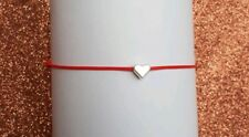 Red Cord Bracelet Polyester 1mm With Love Heart Pendant