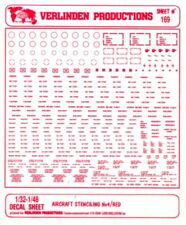Verlinden Productions 1:32 1:48 Aircraft Stenciling No.4 Red Decal Sheet #169