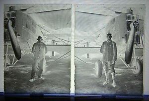Aviation- 2 Negative On Plate Glass - Pilotes With Breguet 14 A2. 1° GM / WW1