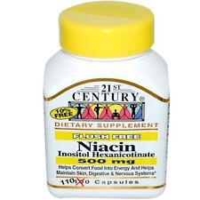 Vitamina B-3 Niacina, Flush Gratis, 500mg X 110 Cápsulas, 21st Century