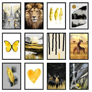 Yellow Gold Home Living Room Bedroom Prints Wall Art - Unframed Posters