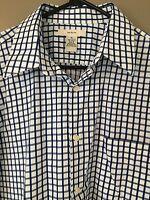 Merona White Blue Dress Shirt Long Sleeve Check Plaid Men's Size Large