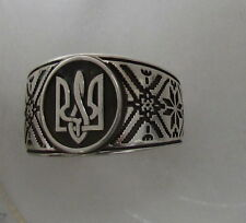 Sterling Silver Ring with Ukrainian Trident,Embroidery Style,Oxidized,Size 6.5