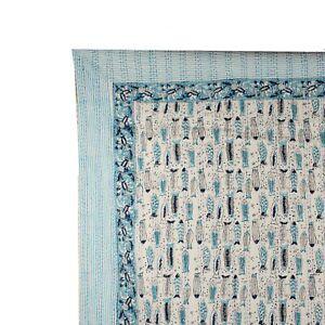 100% Cotton Kantha Bedspread Fish Hand Block Print Blanket Gudari Bedding Ralli