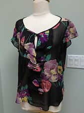L - Lauren Ralph Lauren S/S Silk Top Sheer Floral Keyhole Neck Frilly Ruffles
