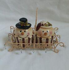 ❀ ڿڰ ❀ Shabby Chic Festive Noël Bonhomme de neige Salt & Pepper Shaker Set ❀ ڿڰ ❀