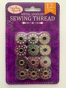 12 Metal Bobbins Spools Sewing Machine Reels Universal with Thread YE169