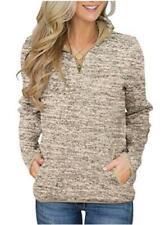 Aleumdr Women Casual Long Sleeve 1/4 Zipper Color Block, Khaki, Size Large 3vEV