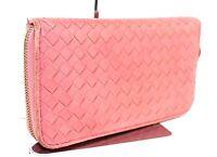 Auth Bottega Veneta hot pink mesh leather zip around Bifold Long Wallet purse