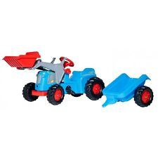Rolly Toys Classic Trac mit Anhänger und Frontlader Traktor Trettraktor blau