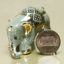 ELEPHANT WITH GOLD TRIM Ceramic Pottery Miniature Animal Figurine #04