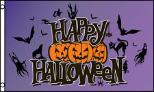 """HAPPY HALLOWEEN"" flag 3x5 ft poly prpl"