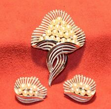 Signed  Crown Trifari   Pearl & Crystal Pin/Brooch with Earring's Collection