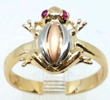 GOLD 14k FROG Luck Lucky ring solid tri simulated ruby 7.5 4 5 6 7 8 9 10 4.1g