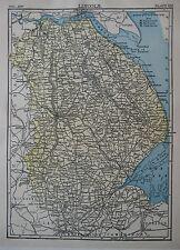 Original 1890 Shire Map LINCOLN England Holbeach Louth Ashby Gainsborough Barton